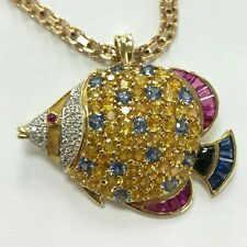Custom Designed Fish Pendant Multi-Color Sapphire