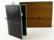 J.Fold black green leather Mini Case card holder mens Minimalist Wallet NIB gift