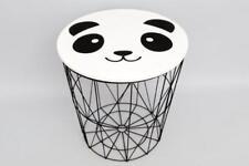 ROUND Children'S black metal Toy Storage comodino Bianco Panda Top rimovibile