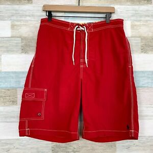 Polo Ralph Lauren Kailua Cargo Swim Trunks Red White Contrast Stitch Mens Medium