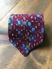 417 Van Heusen Men's Necktie-Tie-Fashion Accessory-Red-Blue-100% Silk-Snagged