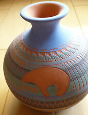 ANDERSON SMITH, VINTAGE POTTERY ETCHED DESIGN WITH BEAR MID CENTURY BABY BLUE