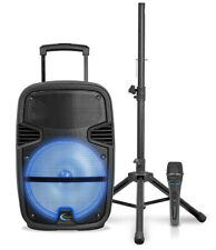 "Technical Pro 12"" Bluetooth LED Speaker Package With Tripod & Wired Mic PB14PKG"