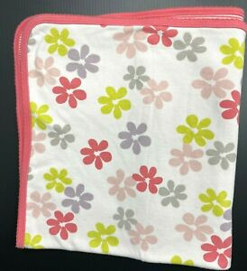 Carters Baby Blanket Pink White Stripes Green Purple Flowers Cotton Reversible
