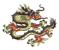 Chinese Dragon - Olive Green/Yellow - Iron on Applique/Embroidered Patch