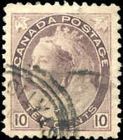 1898 Used Canada 10c F-VF Scott #83 Queen Victoria Numeral Stamp