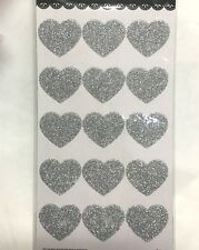 30xSilver Glitter Heart Seals Labels Stickers Wedding Invitations/Bomboniere Tag