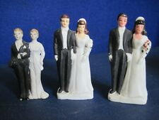 Lot of 3 Vintage Bride and Groom Wedding Cake Toppers