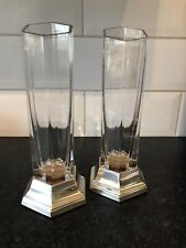 More details for pair carrs sterling 925 silver hallmarked and cut glass crystal hexagonal vases