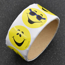 100x Yellow Smiley Face Happy Stickers Circle Laptop Luggage Car Cards Decals
