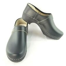 Gevavi Mens 44 Orthopedic Clog Made in Holland Black Handcrafted Detail