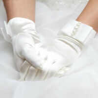 Vintage Evening Gloves Wedding Bridal Lace Tulle Satin Romantic Gloves One Pair