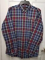 Ben Sherman Mens Shirt Size Large Button Down Long Sleeve Plaid Blue Red Grey