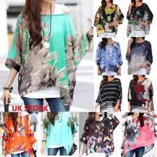 UK Stock Womens Chiffon Baggy Floral Loose Fit Batwing Blouse Kimono Top Kaftan