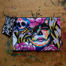 Cosmetic Bag Small Clutch Makeup Case Day of the Dead Sugar Skull Girl Tattoo
