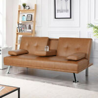 SOFA BED SLEEPER Modern Brown PU Leather Futon Convertible Couch Cup Holder