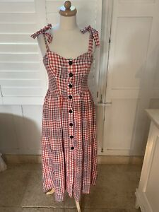 URBAN OUTFITTERS CHECKED SUN DRESS S UK8-10