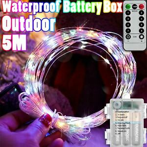 1-20x 5M LED Rainbow Multi Colour Christmas Fairy Light Sealed Waterproof Garden