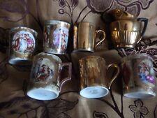 Vintage  Demitasse Coffee Cups 6 lady gentleman gold + 2 gold Royal Worcester +