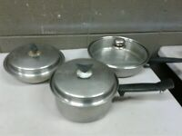 """Vintage Wonder Ware Thermium Double Boiler and 10"""" Skillet Stainless Steel (dd)"""