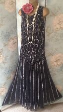 Navy silver bead pisarro nights gatsby 20s vintage Wedding evening gown Dress 10