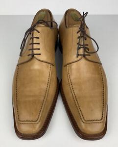 Ermenegildo Zegna Calfskin Oxford Shoes Tan Men US Size 8