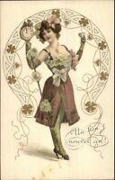 Beautiful Woman w/ Staff Clock on End Champagne c1905 Postcard