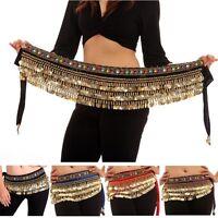 Belly Dance Costume Golden Coins Dancing Hip Scarf Wrap Belt Velvet Skirt belts
