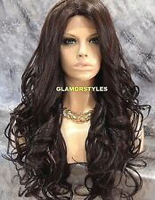 Long Wavy Layered Brown Full Lace Front Wig Heat Ok Hair Piece #4 NEW