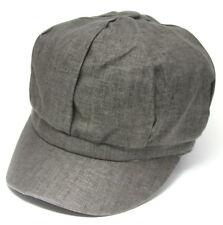 Grey 100% Cotton Baker Boy Cap Hat Womens Ladies One Size Bargain Summer Weight