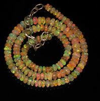 "69 Tcw 5 to 6 mm 16""  Natural Ethiopian Welo Fire Opal AAA Beads Necklace-A3097"