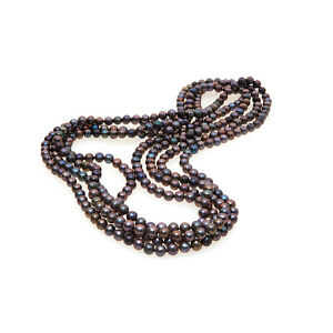 """Long 100"""" Black Freshwater Cultured Pearl Necklace On Knotted Silk - RRP £199"""