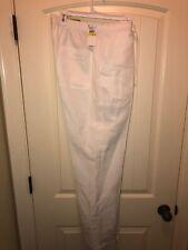 "NWT Cubavera Mens Bright White Medium M Drawstring Linen Pants 32"" Inseam"