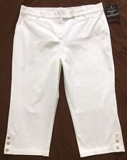 NWT Sag Harbor White Crop Capri Pants Sz 18 Perfect Fit Waistband Secret Escape