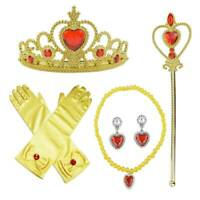 7pcs Princess Belle Dress up Party Accessory Gift Set Gloves Wand Girls Necklace