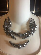CHICO'S CORRINE GRAY FAUX PEARLS NECKLACE ~ BIB ILLUSSION WIRE ~ GREY PEARLS NWT