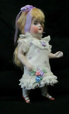 """Cotton Floral Dress: 5 1/2"""" Antique Doll Mignonette All Bisque Kestner Dollhouse"""