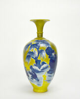 Chinese Qing Qianlong MK Blue and White Figure Yellow Ground Porcelain Vase