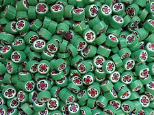 50g #77 Circle Green/White/Blue/Red Cross Millefiori Opaque Large 10-11mm COE104