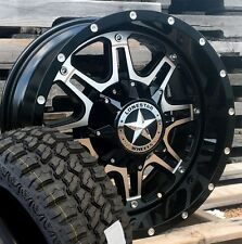 "18"" Black Machine Lonestar Outlaw Wheels 33x12.50"" M/T Tires Jeep Wrangler 5x127"