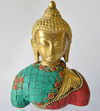 Buddha Statue Studded Turquoise Corals Brass Bust Handmade Exclusive