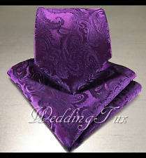 Men's Dark Purple Neck tie and Pocket Square Hankie Set Formal Wedding 600-FF