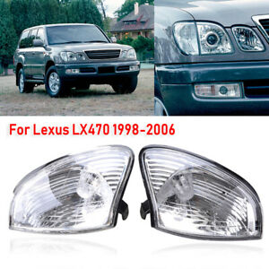 2PCS Turn Signal Corner Light Clear Lens For Lexus LX470 1998-2007 Replacement