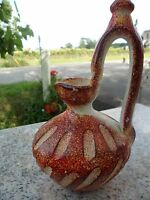 Mid Century Modern Vase Spain Pottery Red Orange Splatter Hand Painted Genie