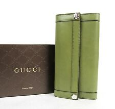New Gucci Green Leather Charmy Clutch Continental Wallet 231839 3309