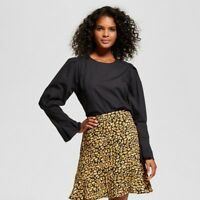 NEW Who What Wear Women's Bubble Sleeve Shirt - Black - Size Small