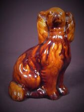 RARE ANTIQUE 1800s SMALL SPANIEL DOG ROCKINGHAM YELLOW WARE MINT