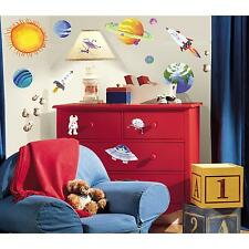 OUTER SPACE wall stickers 35 decals scrapbook Rocket Ship Sun Planets Universe