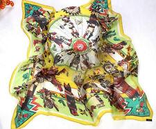 "51"" Square Wrap 100% Chiffon Silk Scarf Women Shawl Widen Thin yellow KX42004"