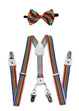 Adult Unisex Combo Deal 4 Clip-on Suspenders +  Bow-Tie Adjustable Rainbow Swirl